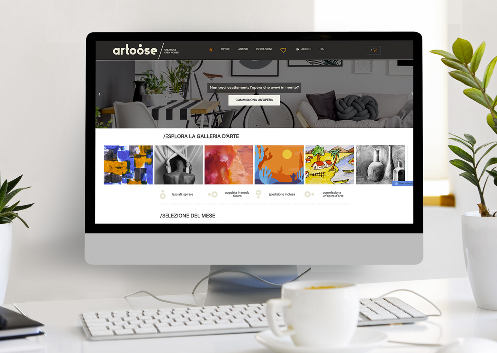 mokup di presentazione della galleria d'arte online Artoose